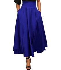 women's a-line, flared, vintage, high waist, blue, long, ankle length skirt