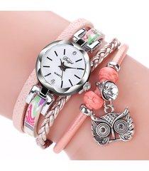 boho orologio a bracciale multi-strati in quarzo con cinturino in cuoio