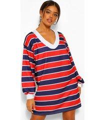 gestreepte sweatshirt jurk met hoge kraag, red