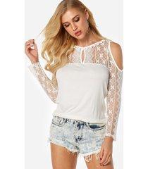 blusas de manga larga con hombros descubiertos y encaje transparente blanco