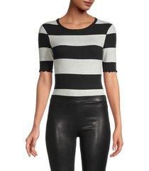 n:philanthropy women's suri stripe cotton bodysuit - black oatmeal - size l