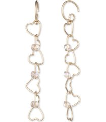 lonna & lilly gold-tone bead-accent linked heart linear drop earrings