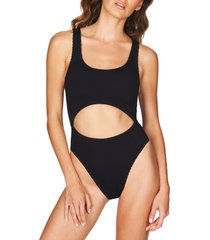 women's bound by bond-eye the mishy high cut ribbed one-piece swimsuit, size one size - black