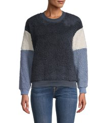 for the republic women's colorblock faux fur sweater - navy white - size xs
