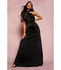 petite satijnen gedraaide maxi jurk, black