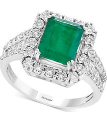 brasilica by effy emerald (2-1/5 ct. t.w.) & diamond (1/2 ct. t.w.) ring in 14k white gold & 14k yellow gold