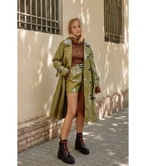 womens vinyl countdown belted trench coat - olive