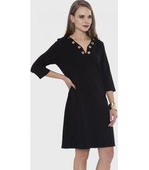 vestido con ojetillos en el escote negro lorenzo di pontti