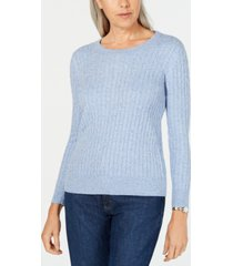 karen scott cable-knit crewneck sweater, created for macy's