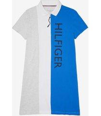 tommy hilfiger women's adaptive colorblock polo dress palace blue multi - m