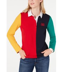 tommy hilfiger colorblocked embroidered top, created for macy's