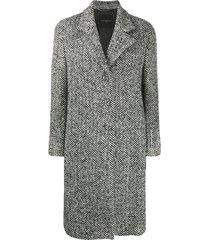 ermanno scervino crystal embellished chevron coat - black
