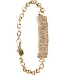 jemma sands angeles diamond id bar bracelet - gold