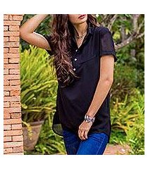 lace yoke blouse, 'gossamer flowers in black' (thailand)