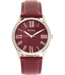 bertha quartz sadie burgundy genuine leather watch, 36mm