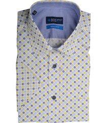 bos bright blue overhemd print met korte mouw 20107wo34bo/440 yellow