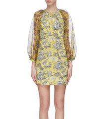 'garden' puff sleeve graphic print mini dress