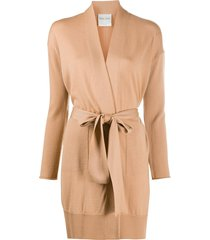 forte forte long-line belted cardigan - neutrals