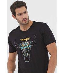 camiseta wrangler estampada preta - kanui