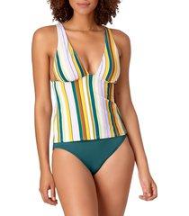anne cole women's mixed drink stripe tankini top - white multicolor - size xs