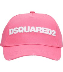 dsquared2 hats in rose-pink cotton