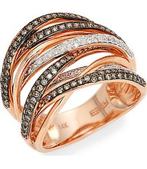black rhodium-plated 14k rose gold, 0.74 tcw white & espresso diamond ring