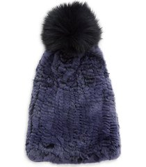 fox & rabbit fur pom pom beanie