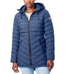 bernardo bernado packable ecoplume(tm) hooded walker coat, size xx-large in soft blue at nordstrom