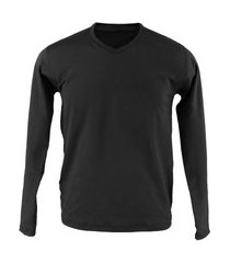 blusa térmica masculina segunda pele v thermo premium original slim fit - preto