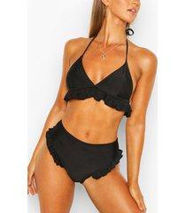 frill hem bikini top, black