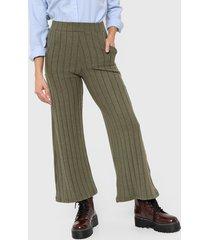 pantalón verde nano palazo lanilla canelon ancho