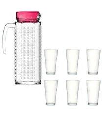 kit 1 jarra de vidro ladrilhos rosa 1,2l e 6 copos de vidro sture móveis