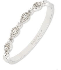 givenchy silver-tone crystal navette bangle bracelet