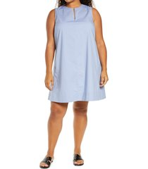 plus size women's eileen fisher sleeveless zip neck dress, size 3x - blue