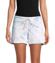 hard tail women's tie-dyed drawstring cotton shorts - white - size s