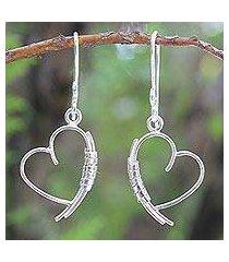sterling silver heart earrings, 'love promise' (thailand)