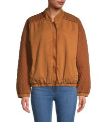 young fabulous & broke women's diamond quilted jacket - marigold - size m
