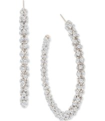 """thalia sodi silver-tone large crystal textured open hoop earrings, 2.6"""", created for macy's"""