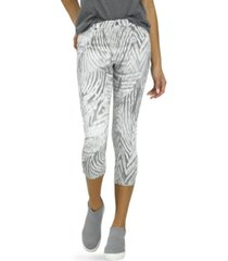 hue grey zebra denim high rise capri leggings