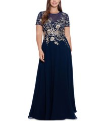 betsy & adam plus size beaded embroidered gown
