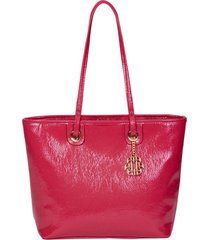 bolsa tote feminina ana hickmann verniz craquelado rosa