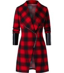 plus size asymmetric zip plaid pu leather panel tunic coat