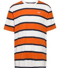 men makram dropped shoulder tee t-shirts short-sleeved orange fila