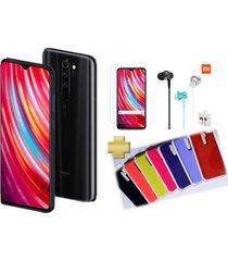 celular xiaomi redmi note 8 pro 128gb 6gb ram negro + vidrio + audífonos + silicone case