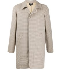 a.p.c. thigh-length checked coat - neutrals