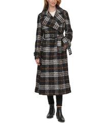 calvin klein plaid belted wrap coat