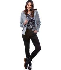 abrigo tipo capa con capota gris para dama