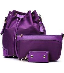 donna 3 pcs nylon borsa a tracolla multifunzione impermeabile borsa