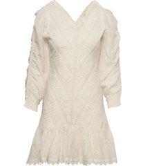 broderie anglaise rouching dress kort klänning vit by ti mo