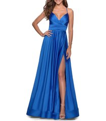 la femme satin empire waist sleeveless gown, size 12 in royal blue at nordstrom
